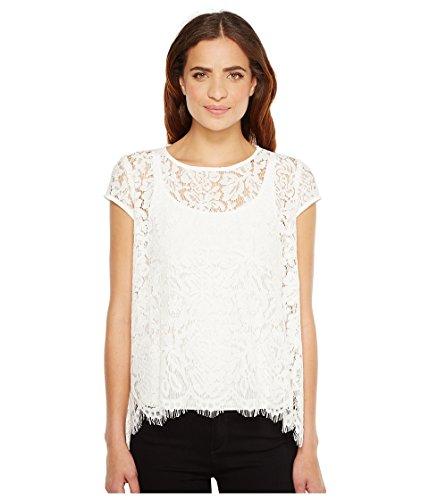 Karen Kane Women's Lace Flare Top Off-White Shirt