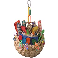 Super Bird Creations 10 by 5-Inch Foraging Basket Bird Toy, Medium