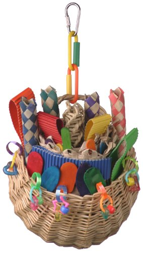 Super Bird SB669 Wicker Foraging Basket Bird Toy with Array of Chewable Toys for Parrots, Medium Size, 10