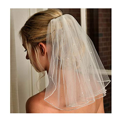 Brishow Women's Wedding Veil Short White Bridal Veils with Beaded Lace Applique edge and comb for ()