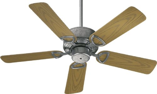 Quorum International 143425-9 Estate Patio Ceiling Fan with Medium Oak ABS Blades, 42-Inch, Galvanized Finish