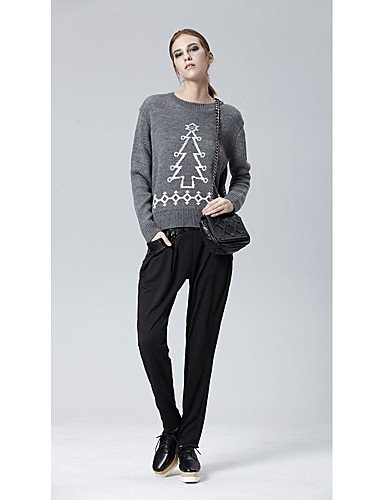 Xuanku HEART SOUL Women's Casual/Daily Work Vintage Simple Street chic Regular Pullover,Print Round Neck Long Sleeves Acrylic Fall Winter Medium Grey