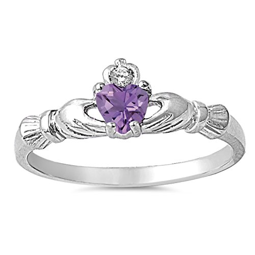 925 Sterling Silver Faceted Natural Genuine Purple Amethyst Claddagh Heart Promise Ring Size 1