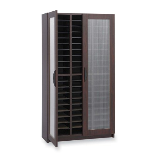Safco Products 9355MH Literature Organizer with Doors, 60 Compartment, Mahogany by Safco Products