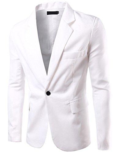 Porlox Mens Casual Peaked Lapel Slim Fit 1 Button Suit Blazer White ()