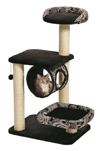 MidWest 'Escapade' Cat Tree / Cat Furniture, 4-Tier Cat Activity Tree w/ Sisal Wrapped Support Scratching Posts & Lounging Cat Look-Out, Black / White Pattern, Medium Cat Tree