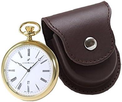 アエロ懐中時計 25795j501と正美堂オリジナル革ケース(ブラウン) セット 25795j501-sp408f