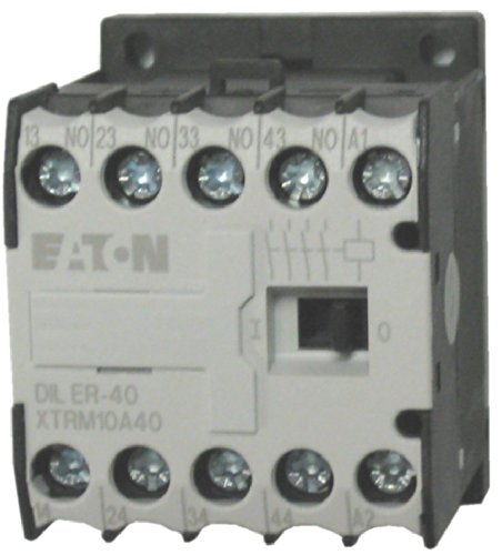 Coil 10 Amp Relay - Eaton / Moeller DILER-40 4 pole miniature control relay with a 24 volt AC coil. Comes with 4 N.O. base contacts, rated for 10 AMPS and mounts on standard 35mm DIN rail