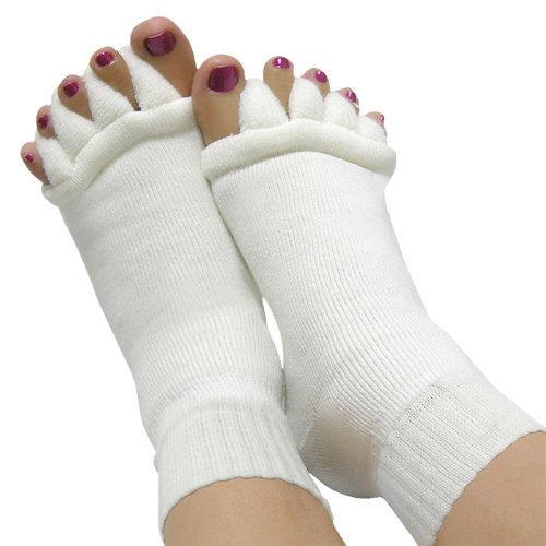 LCFLUKE Yoga Five Comfy Toes Foot Alignment Socks Toe Spacer Relaxing (White, Single)