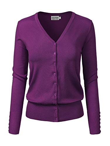Design by Olivia Women's Classic Button Down Long Sleeve V-Neck Soft Knit Sweater Cardigan Purple S