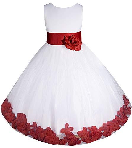 AMJ Dresses Inc Little-Girls' White/red Flower Girl Dress E1008 Sz 6]()