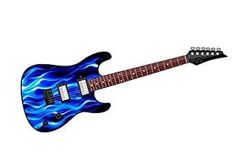 COOL diseño de guitarra eléctrica con diseño de llamas Fire Azul Coche De Vinilo Adhesivo 150 x 50 mm: Amazon.es: Coche y moto