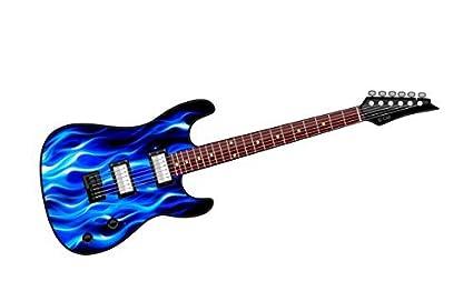 COOL diseño de guitarra eléctrica con diseño de llamas Fire Azul Coche De Vinilo Adhesivo 150