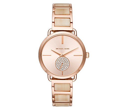 Michael Kors Women's 36mm Rose Goldtone Pav= Acetate Bracelet Watch