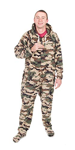 Forever Lazy Detachable Feet Adult Onesie - Green Camo - S