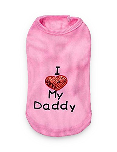 DroolingDog Pet XXS Dog Clothes I Love My Daddy Dog T Shirt for Small Dogs, XXS, Pink