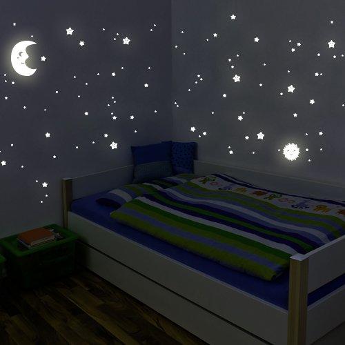 Wandkings WK-10981 Sonne, Mond und Sterne XL-Set Wandsticker, 114 Sticker, Fluoreszierend und im Dunkeln leuchtend
