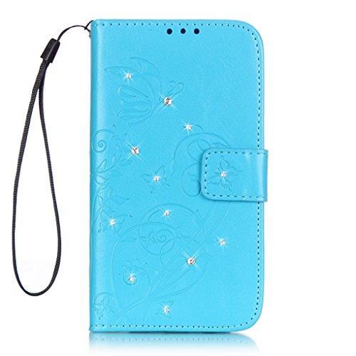 Trumpshop Smartphone Carcasa Funda Protección para Huawei Y6 (Serie Diamante) + Negro + PU Cuero Caja Protector con Cierre Magnético [No es compatible con Huawei Y6 II y Y6 II Compact] Azul