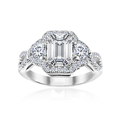 MIA SARINE Emerald Cut Cubic Zirconia Royal Princess Style Royal Princess Style Engagement Ring for Women in Rhodium Plated 925 Sterling Silver, Size 8