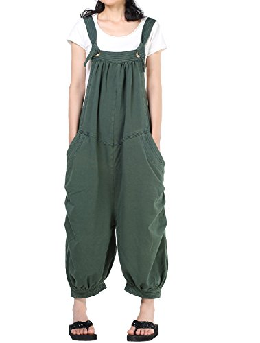 (Mordenmiss Women's Baggy Bib Overalls Denim Cotton Harem Wide Leg Jumpsuits Style 6)