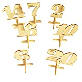 iEventStar Wedding Table Number Numbers with Holder Base for Wedding Table Events (Mirror Gold, 20)