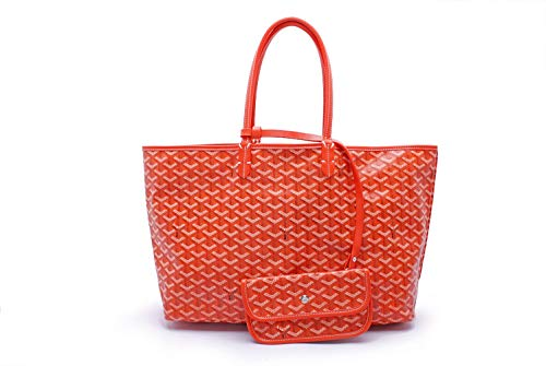 Dinera Shopping PU Tote Bag Set Fashion Women Shoulder Bags Handbags with Coin Purse(orange-mm)