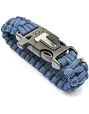 WIKA Survivalarmband, paracord, vuursteen, mes, signaalfluitje, kleur van de paracordband naar keuze in blauw, zwart of groen