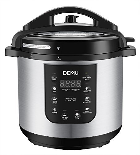 DEMU Electric Pressure Cooker 7-in-1 Multi-Use Programmable Electric Cooker with Glass Lid and Steam Rack (8 Quart) For Sale