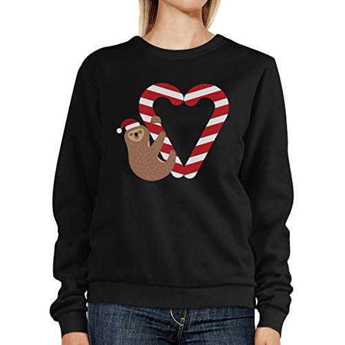 Candy Cane And Sloth Sweatshirt Winter Fleece Sweater