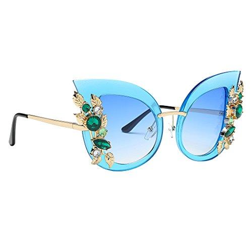 Ojo Gafas lente marco Gato Sol MagiDeal Flor Único Diamante de Mujeres de azul Estilo de Elegante de Sobredimensionadas azul Fw1gfqI
