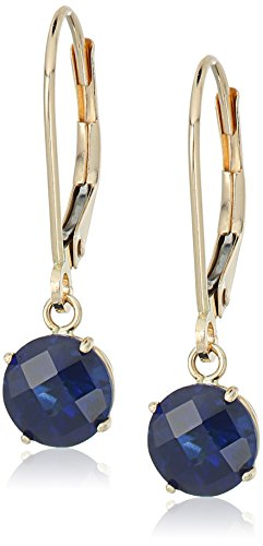 (10k Yellow Gold Round Checkerboard Cut Created Blue Sapphire Leverback Earrings (6mm))