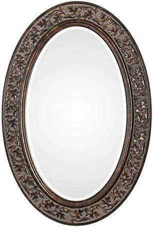 Spinner Floro Aged Bronze Oval Mirror Oval Wall Mirror in Aged Bronze Finish 23 W x 34 H Oval Mirror