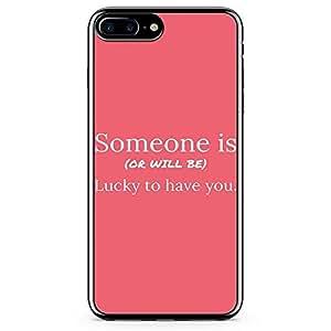 iPhone 8 Plus Transparent Edge Phone case Luck Phone Case Love Phone Case Valentine iPhone 8 Plus Cover with Transparent Frame