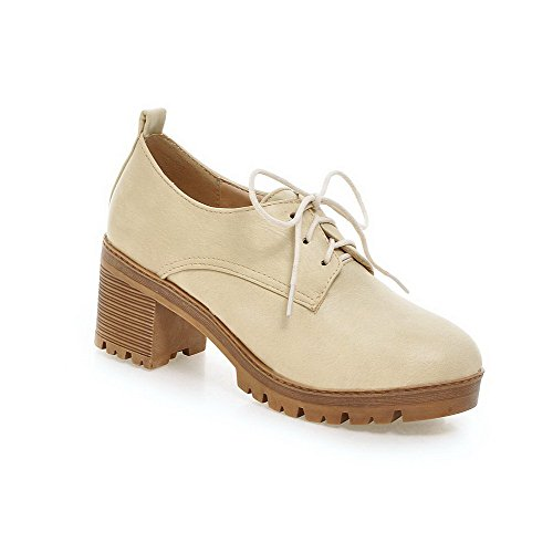 Allhqfashion Donna Materiale Morbido Allacciatura Tacco Chiuso Tacchi Alti Scarpe-scarpe Beige