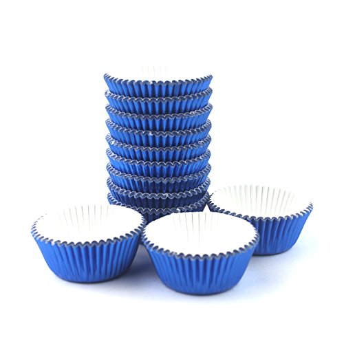 Xlloest Premium Mini Foil Baking Cups, Cupcake Liners Paper, Pack of 300 (Blue)