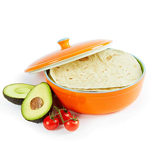 (Uno Casa Ceramic Tortilla Warmer - Holds up to 15 Pcs - Measures at 8.5 Inch)