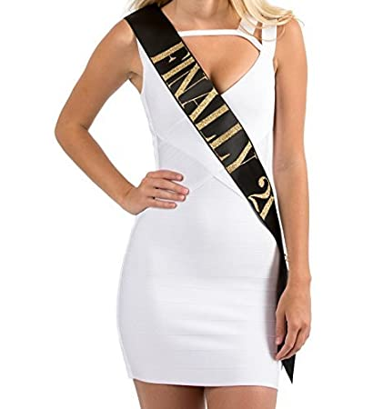 cca6500c Amazon.com: Dulcet Downtown Birthday Sash - Black Finally 21 Sash with Gold  Glitter Lettering: Toys & Games
