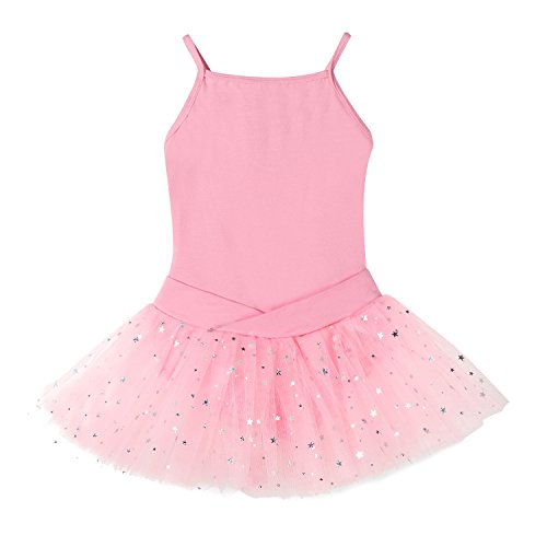 Bindun Girls' Glitter Camisole Tutu Dress Leotard Dance Costumes Pink (Double Layer Tutu)