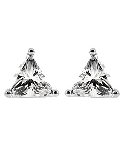 Triangle Shape Trillion Cut CZ Basket Set Sterling Silver Stud