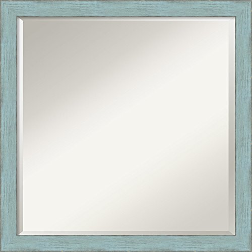 Wall Mirror Square, Sky Blue Rustic Wood: Outer Size 22 x - With Blue Mirror Frame