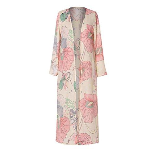 Hmlai Clearance Women Floral Chiffon Long Kimono Cardigans Sunshade Beachwear Cover Up (Pink, ()