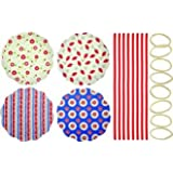 KitchenCraft Home Preserving Heart Patterned Fabric Jam Cover Kits, Pack of 8