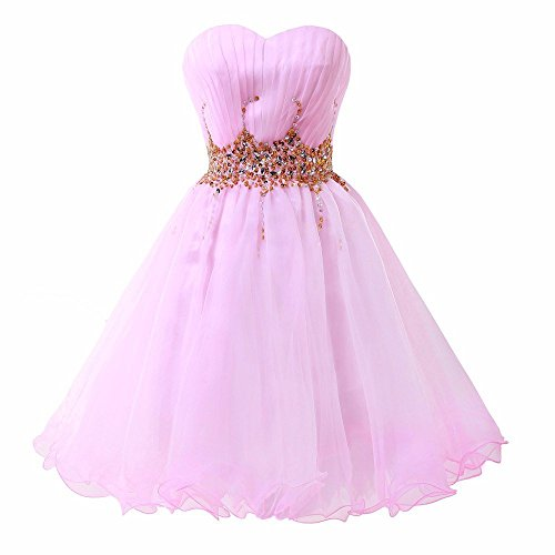 Organza Line Prom Women's CharmingBridal SD046 Pink Homecoming Dress Party A Short IEYAEwxqZ