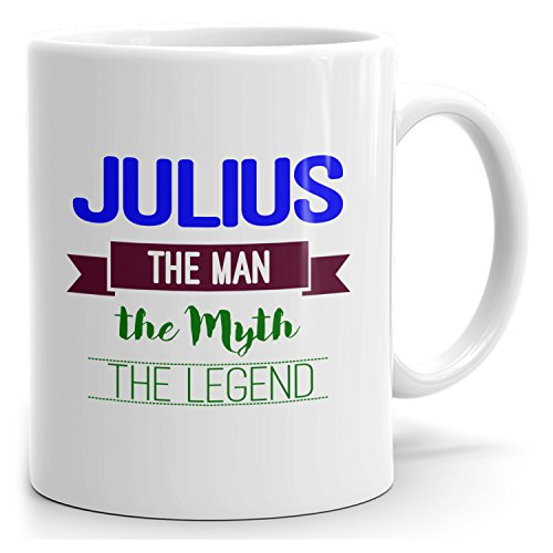 Julius on cup - The Man The Myth The Legend - Ceramic Cup for Coffee, Tea & Chocolate - 15oz White Mug - Blue 2