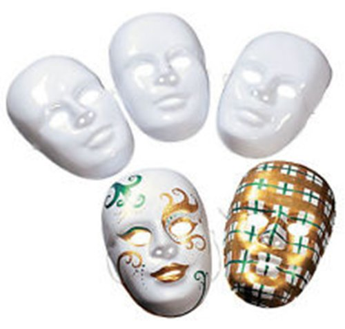 White Vinyl Gloves Costume (Design Your Own White Face Masks Pack of 12)