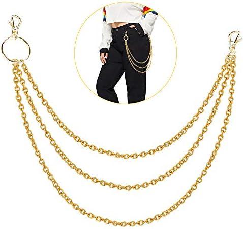 Huture Brieftasche Kette Taille Kette Hip Hop Style Zweilagige Chains Snap Verschluss Jeans Hose Kette Punk Schlüsselanhänger Kellnerkette für Männer Frauen Trucker Bikerbörsen, Gold