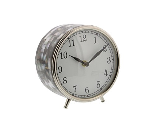 Deco 79 43505 Stainless Steel Round Table Clock with Shell Inlay 6