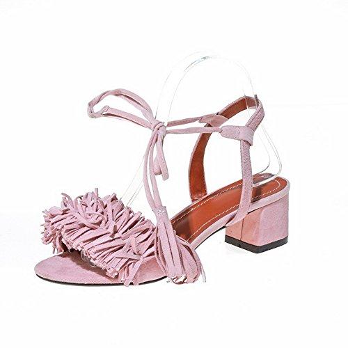 Adee - Sandalias de vestir para mujer Rosa