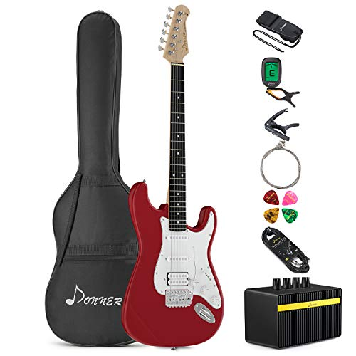 Donner DST-100R Full-Size 39 Inch Electric Guitar Red with Amplifier, Bag, Capo, Strap, String, Tuner, Cable and Pick