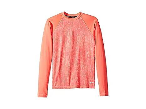 24aa467b00e Nike Kids Girl's Rush Heather Long Sleeve Hydroguard (Big Kids) Hot Punch  Small
